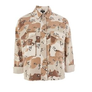 TOPSHOP Women's Spot Camouflage Shacket US 4 NWOT